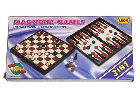 Набор игр магнитный 3 в 1 Leon Magnetic