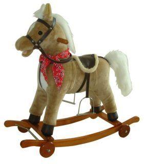 Лошадка-качалка на колесах 78 см, мелодия, звук галоп., открыв. рот., машет хвостом 61053