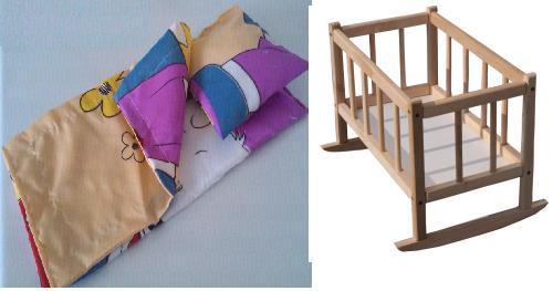 Кроватка для кукол деревянная (подушка, матрасик)