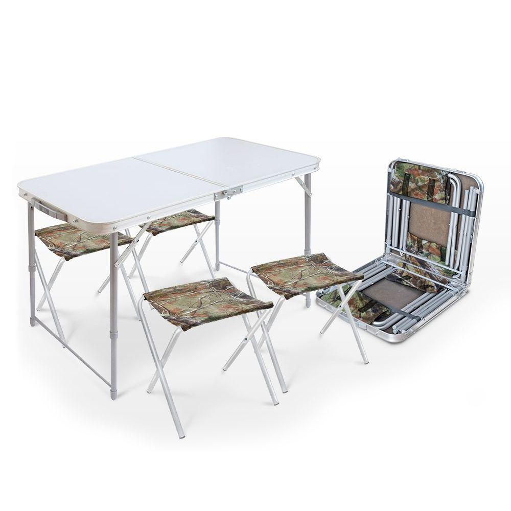 Комплект мебели Nika ССТ-К2 (стол складной, 4 стула), цвет металлик/хантер