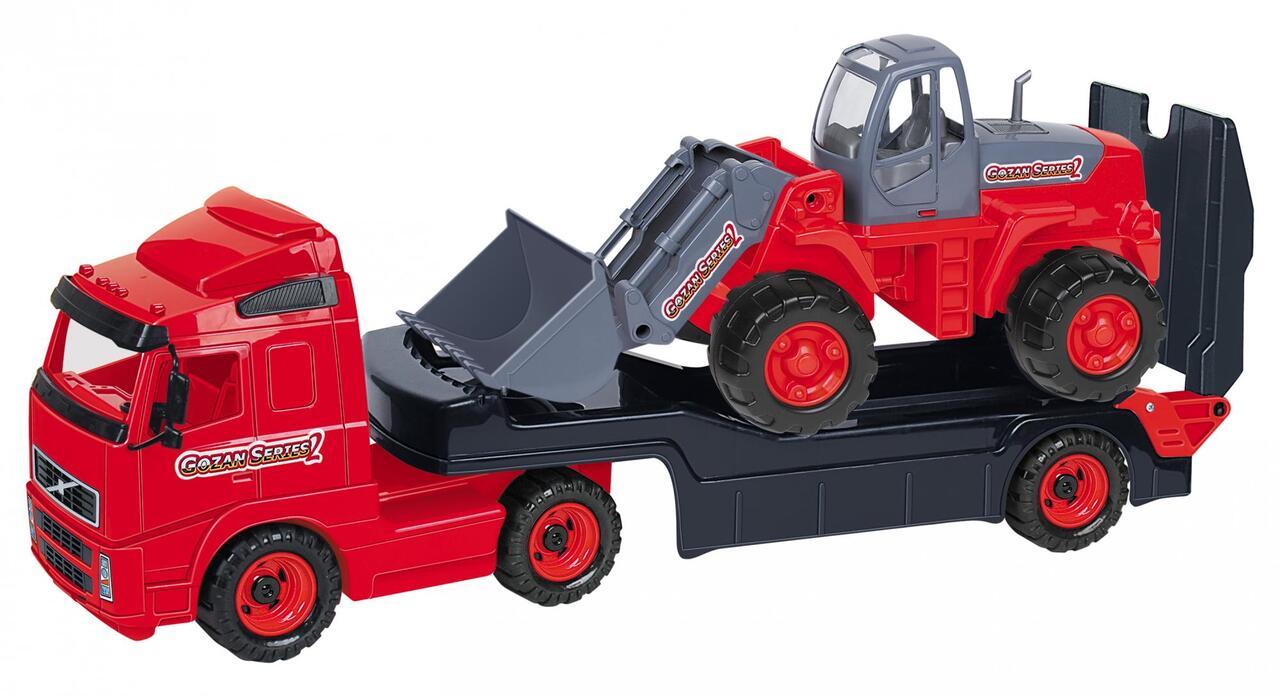 Автомобиль-трейлер + трактор-погрузчик (в сеточке)